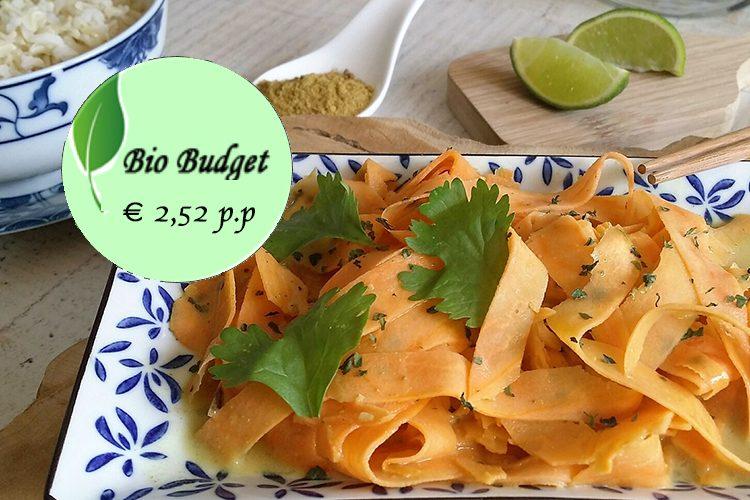Bio Budgetrecept: tagliatelle van zoete aardappel