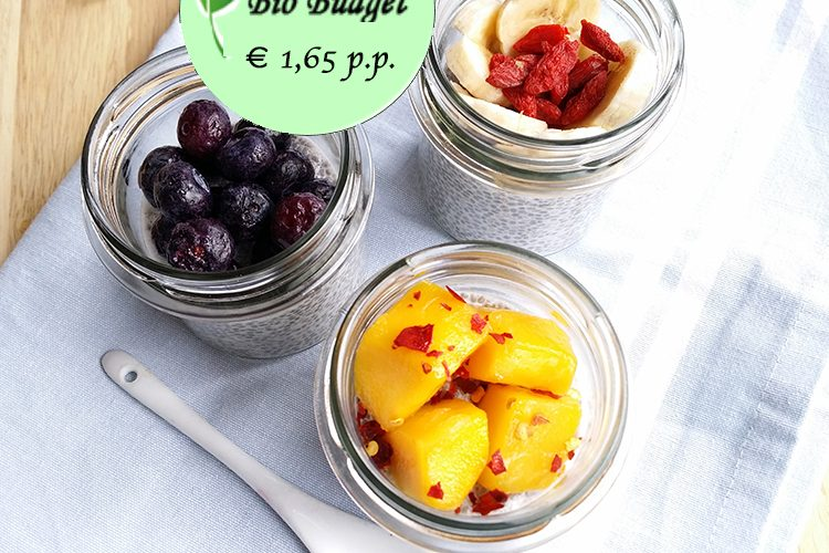 Bio Budgetrecept: chiapudding met fruit topping