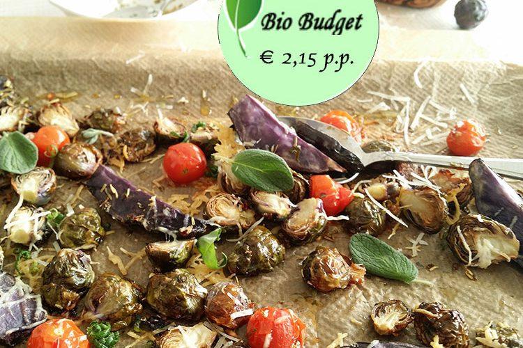 Bio Budgetrecept: geroosterde spruitjes met truffelaardappeltjes