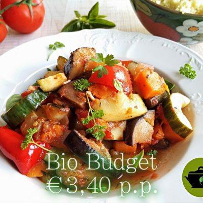 Sandra's biobudget vegan ratatouille bomvol groente!