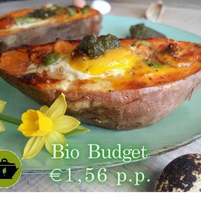 Biobudget paasrecept gevulde zoete aardappel met ei