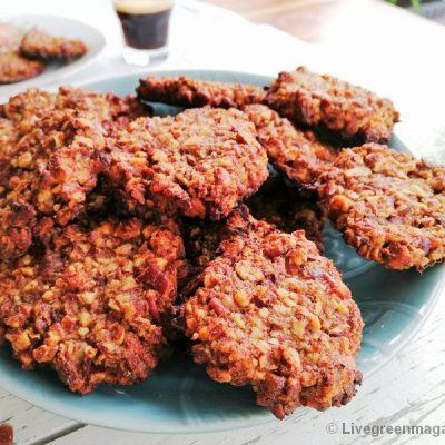 Biologische vegan pecan-dadelkoekjes glutenvrij
