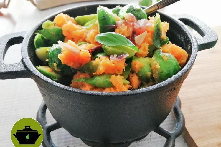 Biologische stamppot spruitjes en zoete aardappel