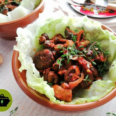 Biologische vegan pulled mushrooms