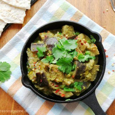Bio vegan jackfruit curry met aubergine