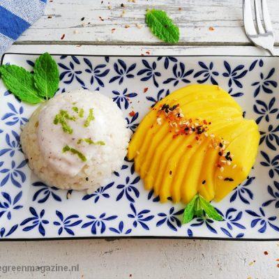 Bio vegan sticky rice dessert met mango