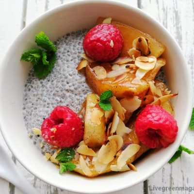 Vegan bio chiapudding met appelcompote